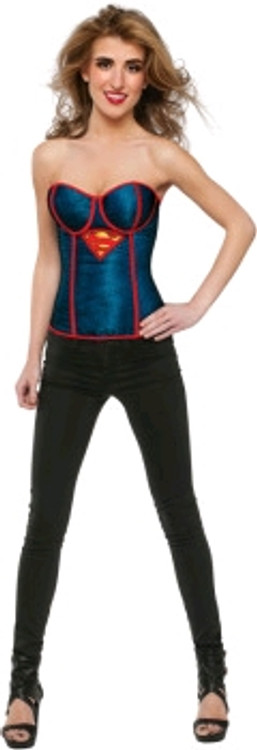 Supergirl Fishnet Overlay Corset Women's Costume