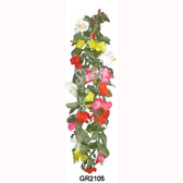 Hawaiian Hibiscus Multi Col Lei w Leaves - Deluxe