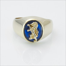 ΔKE Small Comstock Blue Spinel Ring with Lion