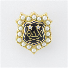 ΘΔΧ Crown Pearl Badge with Diamonds