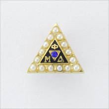 ΦΜΔ Pearl Badge with Sapphire 10K