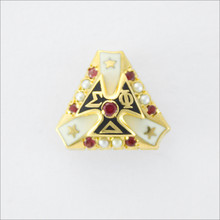 ΣΦΔ Crown Set Pearl Badge with Rubies
