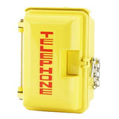 Cast Aluminum Weatherproof Enclosure with TELEPHONE on Door Yellow 331-005-Y-TEL