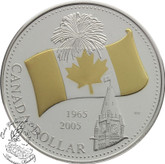 Canada: 2005 $1 40th Anniversary of Canada's National Flag Proof Selectivery gold plated Silver Dollar Coin