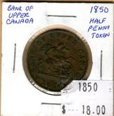 Bank of Upper Canada: 1850 Half Penny #4b