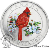 Canada: 2008 25 Cents Northern Cardinal Coloured Coin