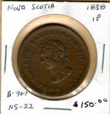 Nova Scotia: 1838 Penny B-967 NS-22