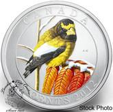 Canada: 2012 25 Cents Evening Grosbeak Coloured Coin