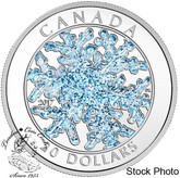 Canada: 2017 $20 Blue Glitter Enamel Silver Snowflake Coin