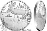 Canada: 2017 $20 Nature's Impressions: Woodland Caribou Silver Coin