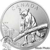 Canada: 2012 $5 Cougar 1 oz  Pure Silver Coin (Milk Spots or Toned)