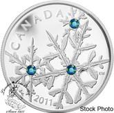 Canada: 2011 $20 Montana Blue Small Crystal Snowflake Silver Coin