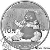 China: 2017 10 Yuan Panda 30 Gram Silver Coin