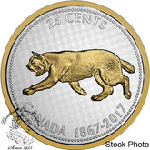 Canada: 2017 1967 25 Cents Bobcat Big Coin Series 5 oz Silver Coin