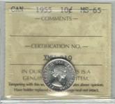 Canada: 1955 10 Cent ICCS MS65
