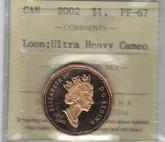 Canada: 2002 $1 Loonie Loon ICCS PF67