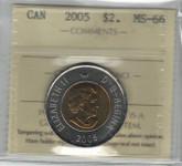 Canada: 2005 $2 Toonie Polar Bear ICCS MS66