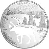 Canada: 2017 $30 Endangered Animal Cutout Woodland Caribou Silver Coin