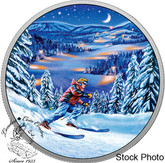 Canada: 2017 $15 Great Canadian Outdoors Night Skiing Glow in Dark Silver Coin