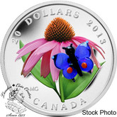 Canada: 2013 $20 Purple Coneflower with Venetian Glass Butterfly Silver Coin