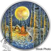 Canada: 2017 $30 Animals in The Moonlight - Lynx Glow In Dark Silver Coin
