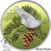 Canada: 2017 $10 Birds Among Nature's Colours: Nuthatch Silver Coin