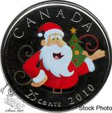 Canada: 2010 25 Cent Coloured Santa Proof Like