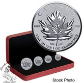Canada: 2017 Pure Silver 4-Coin Fractional Set - Maple Leaf Tribute