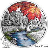 Canada: 2017 $20 Jewel of the Rain: Sugar Maple Leaves - Pure Silver Coin with Swarovski® Crystal