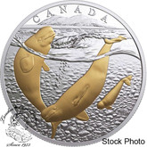 Canada: 2017 $20 From Sea To Sea To Sea: Arctic Beluga Whale Pure Silver Gold-Plated Coin