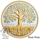 Canada: 2018 $20 1 oz. Tree of Life Pure Silver Gold-Plated Coin