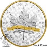 Canada: 2018 $10 2 oz. SML Tribute to 30 Years Pure Silver Gold-Plated Coin
