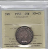 Canada: 1956 25 Cents ICCS MS65