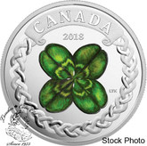 Canada: 2018 $20 Lucky Four Leaf Clover - 1 oz. Pure Silver Coloured Coin