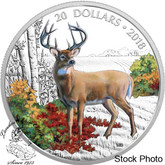 Canada: 2018 $20 Majestic Wildlife: Wandering White-Tailed Deer Fine Silver Coin