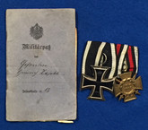 Germany WWI Iron Cross & Honour Cross Group with papers