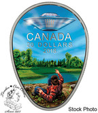 Canada: 2018 $20 Canada's Unexplained Phenomena: The Falcon Lake Incident.  1 oz. Pure Silver Glow in the Dark Coin