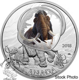 Canada: 2018 $20 Frozen in Ice: Woolly Mammoth 1 oz Silver Coin