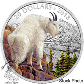 Canada: 2018 $20 Majestic Wildlife: Mettlesome Mountain Goat 1 oz Silver Coloured Coin