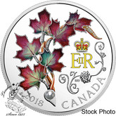 Canada: 2018 $20 Her Majesty Queen Elizabeth II's Maple Leaves Brooch 1 oz Silver Coloured Coin