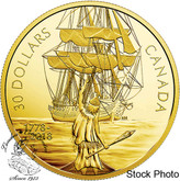 Canada: 2018 $30 Captain Cook and the HMS Resolution - 2 oz. Pure Silver Gold-Plated Coin