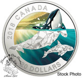 Canada: 2018 $20 Geometric Fauna: Orcas - 1 oz. Pure Silver Coloured Coin