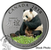 Canada: 2018 $8 The Peaceful Panda, a Gift of Friendship Pure Silver Coloured Coin