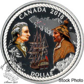 Canada: 2018 $1 240th Anniversary of Captain Cook at Nootka Sound Coloured Silver Dollar Coin