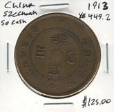 China: 1913 Szechuan Province 50 Cash #2