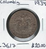Columbia: 1934 50 Centavos Silver Coin