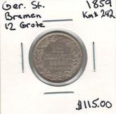 German States: Bremen: 1859 Silver 12 Grote
