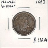 Hawaii: 1883 Silver 1/4 Dollar