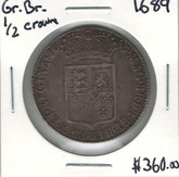 Great Britain: 1689 1/2 Crown