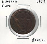 Sweden: 1877 5 Ore